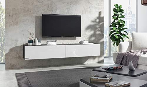 Wuun® 240cm/Weiß-Hochglanz (Korpus Schwarz-Matt)/8 Größen/5 Farben/TV Lowboard TV Board hängend Hängeschrank Wohnwand/Somero