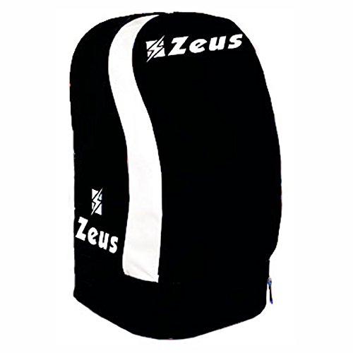 Zeus Zaino ULYSSE Borsa A Spalla Calcio Calcetto Basket Piscina Tennis Sport 33 X 30 X 52 cm (Nero-BIANO)