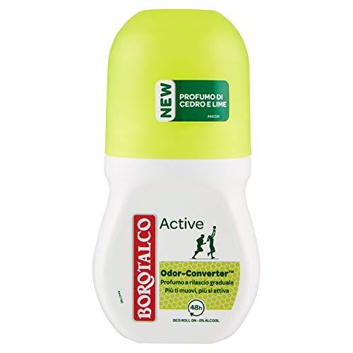 Borotalco Deodorante Roll-On Active con Odor Converter, Più Sudi e Più Si Attiva, Profumo di Cedro e Lime, Freschezza Continua, Giallo, Deodorante Uomo e Donna, Flacone da 50 ml