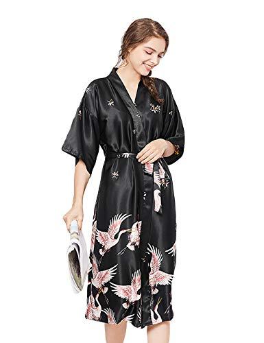 ZAPZEAL Damen Seide Morgenmantel Bademantel Elegant Langarm Nachtkleid V Ausschnitt Sleepwear Nachtwäsche, Schwarz, 2XL(EU)-MarkeGröße:3XL-Länge 124cm