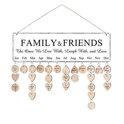 ElekFX】Mom Birthday Gifts Wooden Family Birthday Reminder Calendar Board Birthday/Important Dates Tracker Home Decorative Plaque Wall Hanging