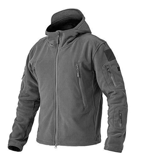メンズ フリースジャケット キャンプ アノラック マウンテンパーカー 釣り スキー 防寒ウェア 裏ボア 防寒シャケット 灰 グレー 2XL