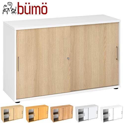 Bümö archiefkast met schuifdeuren voor 2 of 3 ordnerhoogtes, kantoorkast voor documenten H=74,8 cm | 2 Ordnerhöhen wit/eiken.