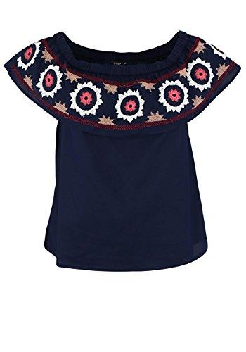 ONLY Damen onlELENA Off Shoulder TOP WVN Bluse, Blau (Navy Blazer Detail: Aztec Embroidery), 36
