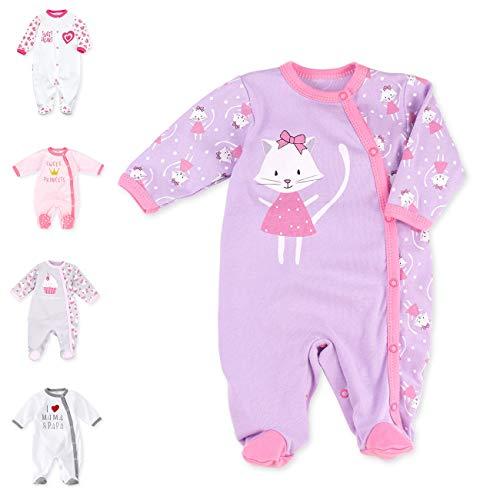 Baby Sweets Baby Strampler für Mädchen/Baby-Overall in Flieder als Schlafanzug und Babystrampler im Katzen-Motiv für Neugeborene und Kleinkinder in der Größe: 3 Monate (62)