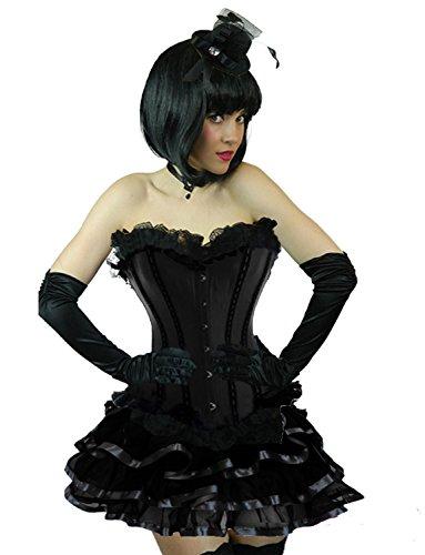 Yummy Bee - Burleske Verstärktes Korsett mit Tutu Rock Karneval Fasching Kostüm Damen Größe 34 - 56 ( 42-44, Schwarz Rib)