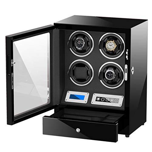 SXHASMZYXY Automatischer Uhrenbeweger Aufbewahrungsbox, Anti-Magnetisierung und intelligente Kette Teleskop-Fernbedienung mit LCD-Touchscreen-LED-Licht Aufbewahrungsboxen für 4 Uhren,C