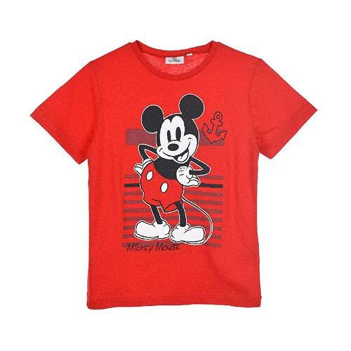 T-Shirt Disegno Animato Topolino Disney Bambino (Rosso 4 Anni)