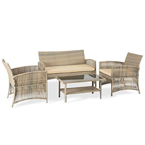 Aclumsy - Juego de 4 piezas para patio de mimbre y mesa de centro de mimbre para terrazas, piscina y cafés, sofá y 2 sillas de cojín y mesa de centro de cristal, color beige