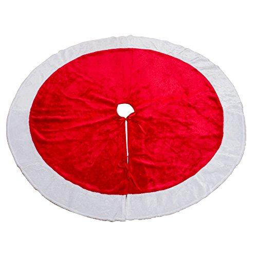MrXLWhome Christmas Tree Skirt 48 inch Round, Large Red Velvet Holiday christmas tree Decorations Skirts