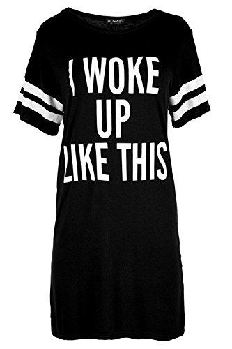 Be Jealous Women's Baggy Dress Cap Sleeve I Woke Up Like This Jersey T Shirt Plus Size (US 12/14) Black