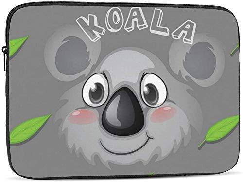 BONRI Funda para portátil con forma de cono de helado y rosquilla compatible con estuche para ordenador portátil de moda de 10-17 pulgadas - Cara de koala y hojas de goma, 17 pulgadas