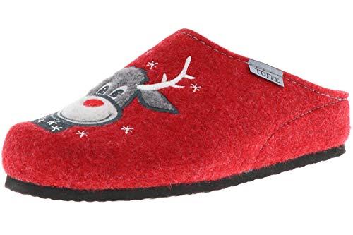 TOFEE Damen Hausschuhe Pantoffeln Naturwollfilz (Rentier) rot, Größe:37, Farbe:Rot