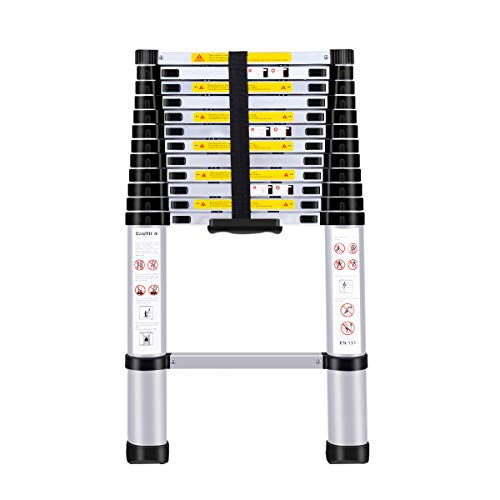 (12.5Ft/3.8M) Telescoping Ladders,EN131Standards Multi-Purpose Folding Aluminum Extension Ladder