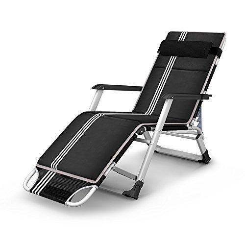 HAIZHEN Chaises canapés Tabourets Chaise longue pliante de jardin de chambre à coucher de chaise avec l'appui-tête réglable pour le confort et le style de relaxation avec la protection démontable de