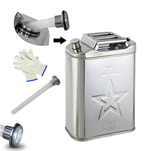 Edelstahl 20 Liter Ersatz-Öltrommel, Tragbar Verdickt Anti Static Kraftstoff Kann Vorratsbehälter Benzinkanister Tankkanister,35x16,5x45,5cm