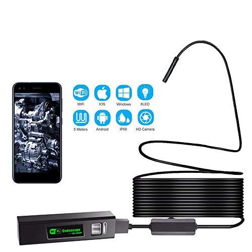 IVY Endoscopio inalámbrica Industrial con LED8mm Prueba de Agua Ultra-Delgado HD 1200p boroscopio WiFi de la cámara de vídeo endoscopio Flexible de iOS,hardwire2meters