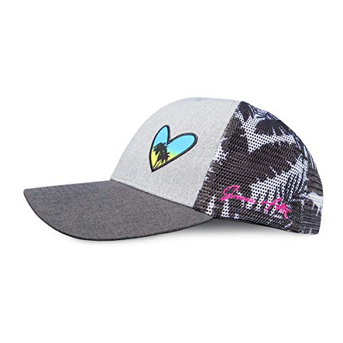 Grace Folly Beach Trucker Hats for Women- Snapback Baseball Cap for Summer (Heart with Floral Print)