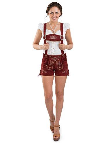 Damen Bergrose Lederhose kurz - Trachtenlederhose Ladies Oktoberfest Hotpants rot (30, red)