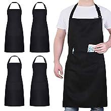 atopo 4 Piezas Chef Delantal, Negro Delantal Impermeable con 2 Bolsillos, Delantal de Cocina Ajustables para Barbacoa Cocinar Hornear Jardinería Restaurante