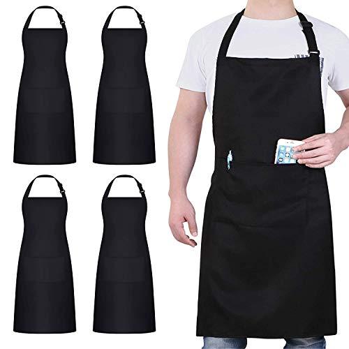 4 Pezzi Cuoco Grembiule, Nero Grembiule Impermeabile con 2 Tasche, Grembiule Cucina Regolabile, Grembiule da Uomo e Donna Adatto per Barbecue Ristorante Caffetteria