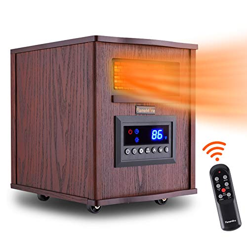 FLAMEMORE 1 CH-3003 Portable Electric Space Remote Control 1500W 6-Element Infrared Heater 12H Timer with Tip-Over & Overheating Shut-Off Quiet for Indoor Use, 12.4in X 15.4in X15.7in, Wood Heater Infrared Space