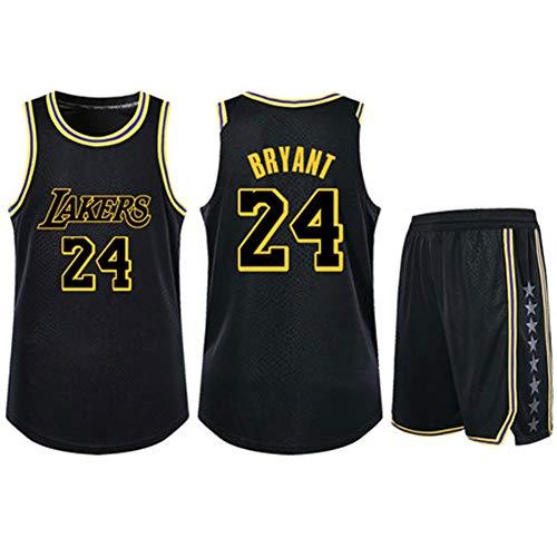 Kobe Bryant Jersey gelb, Los Angeles Lakers 24 Trainingsanzüge mit Oberteilen und Hosen, Polyester, Niedertemperaturtrocknung, Maschinenwäsche-Black A-XXL