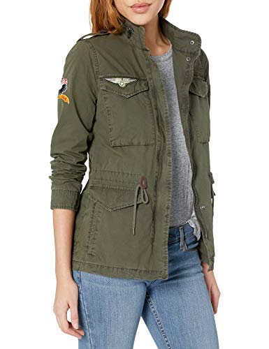 Levi's Women's Four-Pocket Cotton Military Jacket with Patches, Army Green, Large