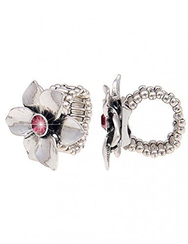 Leslii Damen-Ring Glanz-Blume Glitzer-Ring Blumen-Schmuck Statement Blüte silberner Modeschmuck-Ring dehnbar Silber Pink