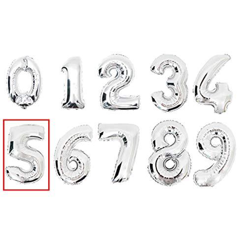 DW4Trading® Cijfer ballon 5 zilver