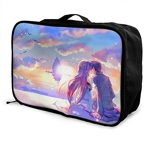 Sword Art Online Bolsa de equipaje portátil ligero de gran capacidad impermeable negro moda vacaciones viajes hombres mujeres
