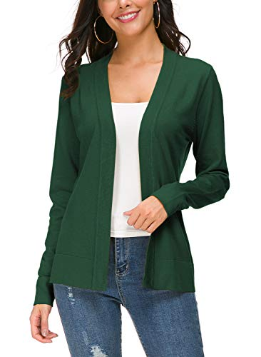 Urban CoCo Women's Long Sleeve Open Front Knit Cardigan Sweater (M, Dark Green)