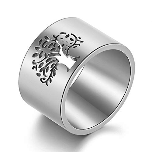 N-A 316L Stainless Steel Tree of Life Rings for Women 14 mm Wide Wisdom Tree Party/Wedding/Gift Rings Finger Ring Jewelry Silver Color 6