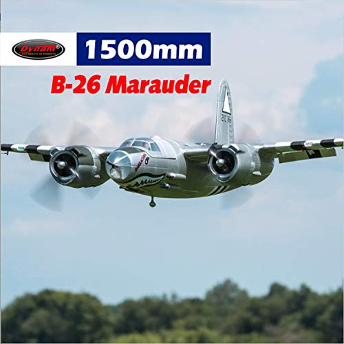 DYNAM RC Airplane B-26 Marauder Silver 1500mm Wingspan - w/o Tx/Rx/Battery