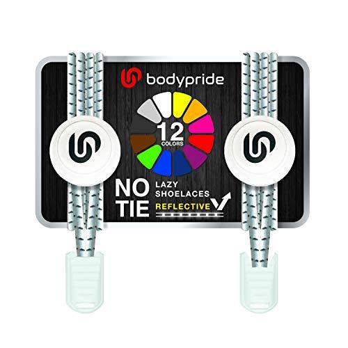 bodypride Premium Lazy Laces [ 12 Farben ] Elastische Schnellverschluss - Schnürsenkel ohne Binden | Schnellschnürsystem mit Reflektoren für Sport, Marathon, Triathlon, Kinder, Senioren | Weiß