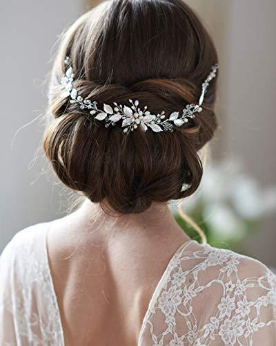 Simsly Bride Hochzeit Haar Weinrebe Silber Blatt Hochzeit Haarschmuck Perle Brautschmuck für Damen und Mädchen
