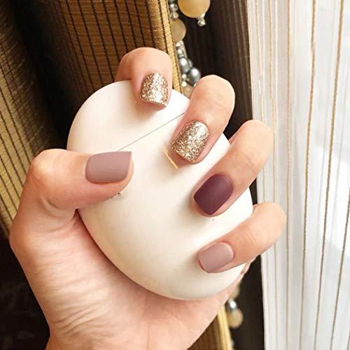 Handcess Lot de 24 faux ongles carrés en acrylique Doré mat