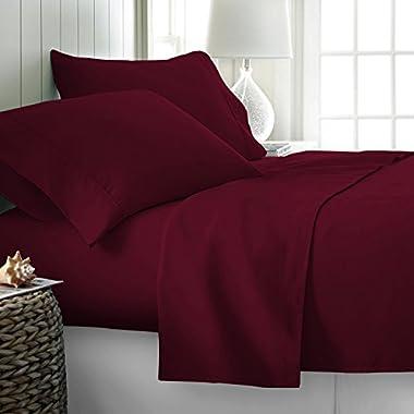 Thread Spread Hotel Collection 600 Thread Count Egyptian Cotton Sateen Full 4 Piece Sheet Set Burgundy