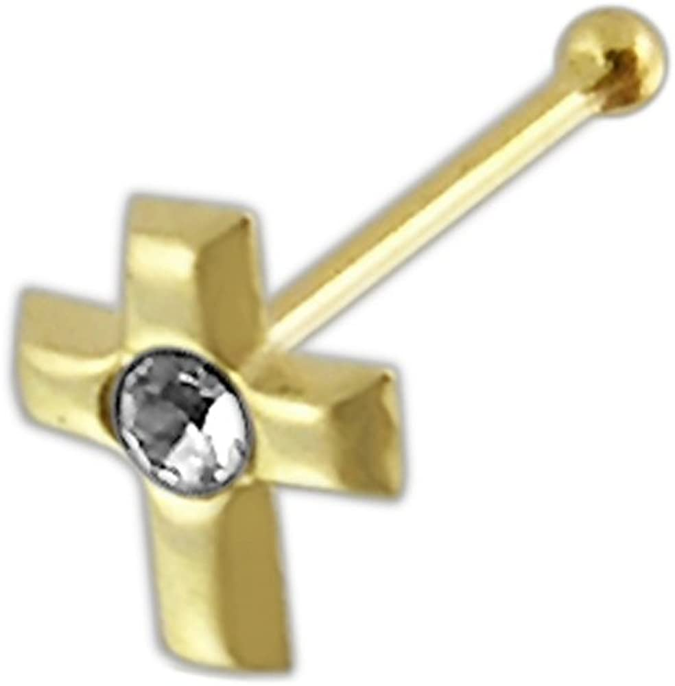 9 Karat Solid Yellow Gold Clear Crystal Stone Cross 22 Gauge Ball End Nose Stud Piercing Jewelry