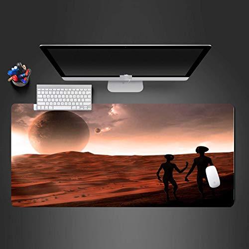 Alfombrilla Raton Xxl Alfombrilla Gaming Kids Gaming Mousepad Largo computadora teclado alfombrilla de ratón Mars Marte Alien Patrón antideslizante Impermeable a prueba de agua Almohadilla 31.5x11.8 p