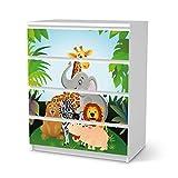creatisto Möbel-Folie für Kinder - passend für IKEA Malm Kommode 4 Schubladen I Tolle Möbeldekoration für Baby-Zimmer Deko I Design: Wild Animals