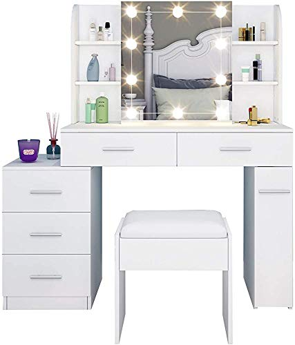 Modern Minimalist Dresser with Five Drawers with Vanity lamp, a Mirror with Sliding