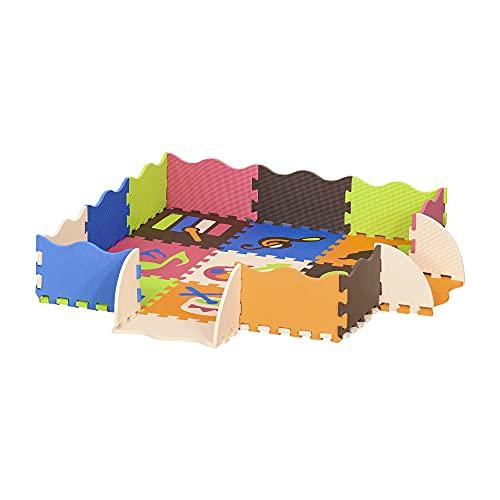 HOMCOM Alfombra Puzzle para Niños 120x90,5x16,5 cm con 25 Piezas de Espuma EVA Suave Área de Cobertura de 9 m² Modelo Instrumentos Musicales Multicolor