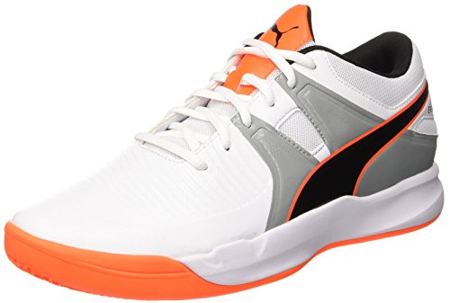 Puma Herren Explode 2 Multisport Indoor Schuhe, Weiß White-Quarry-Shocking Orange, 40.5 EU