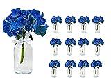 Casavetro - Juego de 12 jarrones pequeños (100 bandas, incluye botes de cristal), color blanco