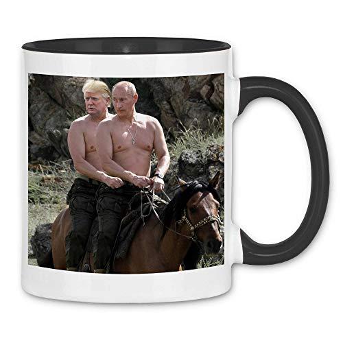 wowshirt Tasse Putin und Trump Reiten Pferd Russland, Farbe:White - Black