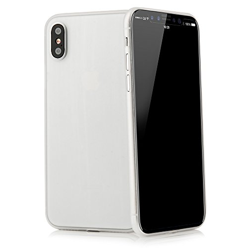 QUADOCTA Custodia Premium Ultra Slim per iPhone X, iPhone XS (5,8') - Conchiglia Protettiva - Tenuis in Bianco - Ultra Sottile - Cover Smart Leggermente Trasparente - per iPhone 10 (Qi Compatibile)