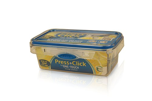 Press N' Click 2.3 Cup Rectangle Container - Clear w/ Blue Trim