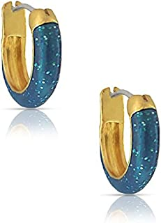 Jewelry for Girls - Glitter Hoop Earrings - Gold Plated with Hand Painted Blue Enamel - By Lily Nily