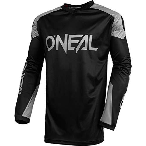 O\'NEAL | Jersey | Enduro Motocross | Atmungsaktives Material, Maximale Bewegungsfreiheit, Verlängerter Rücken | Jersey Matrix Ridewear | Erwachsene | Schwarz Grau | Größe L